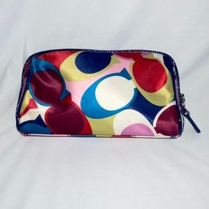 COACH MULTICOLOR SCARF SATIN TRAVEL COSMETIC BAG
